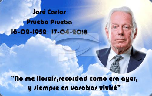 Tarjeta recordatorio fallecidos PVC cielo con nubes y resplandor