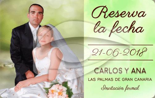 tarjeta recordatorio de PVCde boda