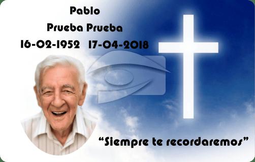 Tarjeta recordatorio PVC cielo y cruz